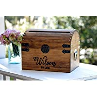 Personalized Wedding Card Box Rustic Card Holder with Slot Wedding Keepsake Box Lockable