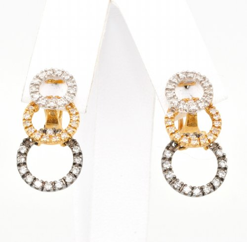14K Tri-Color Gold and Diamond Overlapping Circle Design Earrings