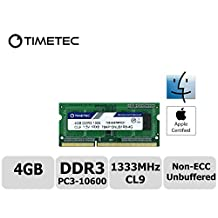 Timetec Hynix IC Apple 4GB DDR3 1333MHz PC3-10600 SODIMM Memory Upgrade For MacBook Pro 13/15/17 inch Early/Late 2011,iMac 21.5-inch Mid/Late 2011,27-inch Mid 2011,Mac mini 5,1 & 5,2 Mid 2011 (High Density 4GB)
