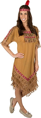 [Adult Native American Indian Woman Costume with Headband (Medium Adult)] (Indian Costumes Halloween)