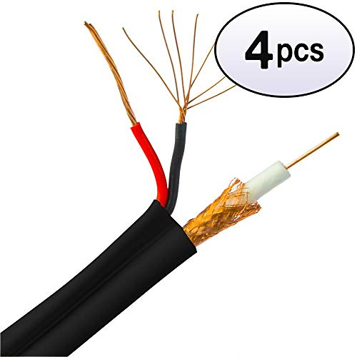 GOWOS (4 Pack) Bulk RG59 Siamese Coaxial/Power Cable, Black, Solid Core (Copper) Coax, 18/2 (18 AWG 2 Conductor) Stranded Copper Power, Spool, 1000 Feet ()