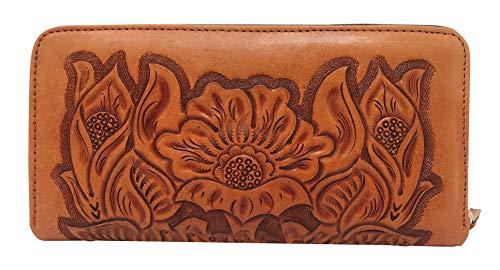 Mauzari Sayulita Designer Paras Vintage Floral Artisan Handmade Leather Wallet (Natural)