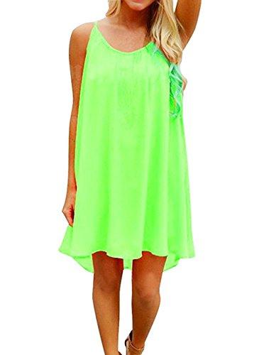 iToolai Women Summer Chiffon Sleeveless Beach Shift Dress(Fluorescent - Green Beach