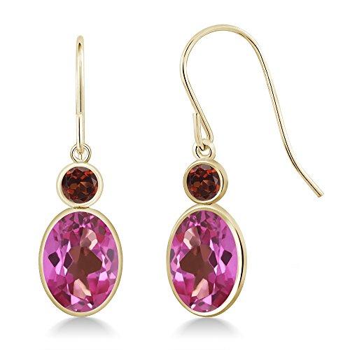 & Earrings Topaz Pink Garnet (3.24 Ct Oval Pink Mystic Topaz Red Garnet 14K Yellow Gold Earrings)