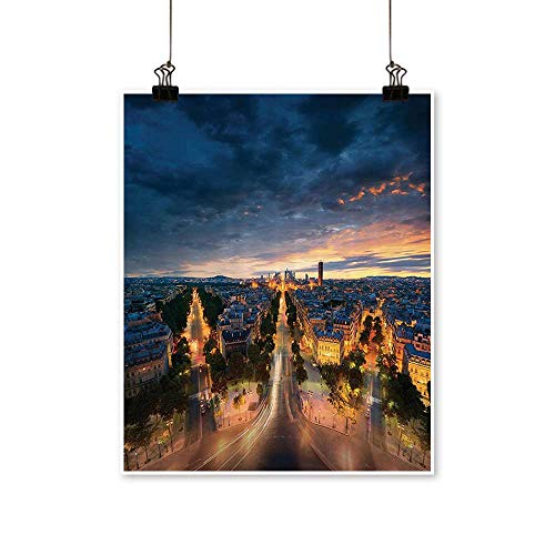 Single paintingAvenue Boulevard Panoramic Dramatic Night Sky Downtown Office Decorations,12