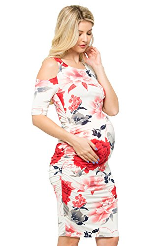 My Bump Women's Various Print Cold Shoulder Fitted Maternity Dress(Made in U.S.A.) (Ivory/RED Flower, - Used Clothes Maternity