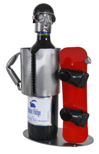 H & K Snowboarder Wine Bottle Holder/Wine Caddy