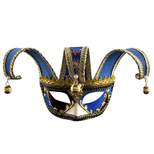HomeMals Halloween Party Mardi Gras mask Masquerade Mask For Adults Flat Triangle Party Mardi Gras Mask Blue