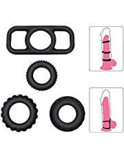 Penis Ring Set for Couples Sex, PALOQUETH Cock Rings Set Sex Toy for Men with Premium Stretchy Silicone for Longer Harder Stronger Erection (1 Pkg / 4 Rings)