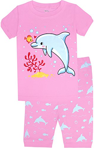 Girls Pajamas Pjs - Children Dolphin Pajamas Girls Summer Short Sleeve PJs 3 Pieces Cotton Sleepwear Set Size 10 Years Old