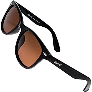 Rivacci Men Women Wayfarer Black Frame / Brown Lens Classic Retro Polarized Sunglasses