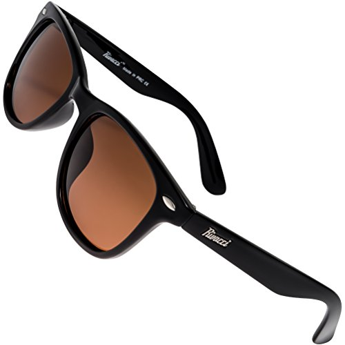 Rivacci Men Women Wayfarer Black Frame / Brown Lens Classic Retro Polarized - Buy Where Sunglasses To