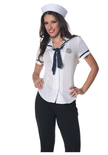Underwraps Women's Sailor Fitted Shirt, White/Navy, (Costumes Navy Sailor Costumes)