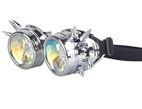 [Kaleidoscope Rave Goggles - Rainbow Crystal Lenses Silver Steampunk Glasses Chrome Finish Gotchic Welder Cyber Style - Real Glass] (Steampunk Decorations)