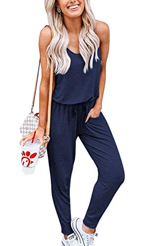 ECOWISH Women Sleeveless Casual Rompers Tie Waist Drawstring Solid Jumpsuit with Pockets Navy Blue - Drawstring Jumpsuit Waist