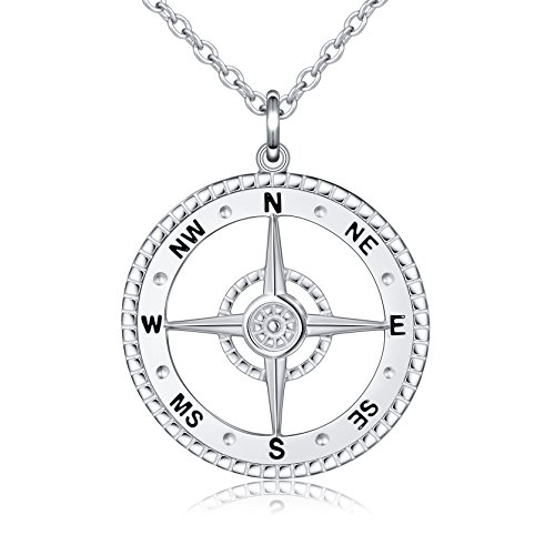 ALPHM S925 Sterling Silver Detailed Large Compass Pendant Necklace 20 Inches Chain Graduation Gift (Men Silver Pendant)