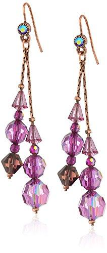 1928 Jewelry Burnished Copper-Tone Purple AB Beaded Linear Drop Earrings