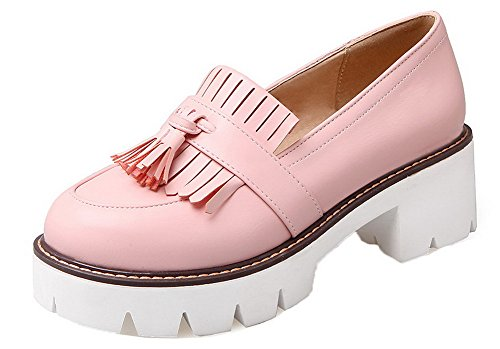AllhqFashion Womens PU Round-Toe Kitten-Heels Pull-On Fringed Pumps-Shoes Pink nxCuE