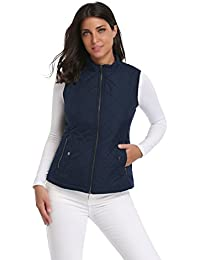 Women's Stand Collar Lightweight Zip Padded Vest Gilet Quilted