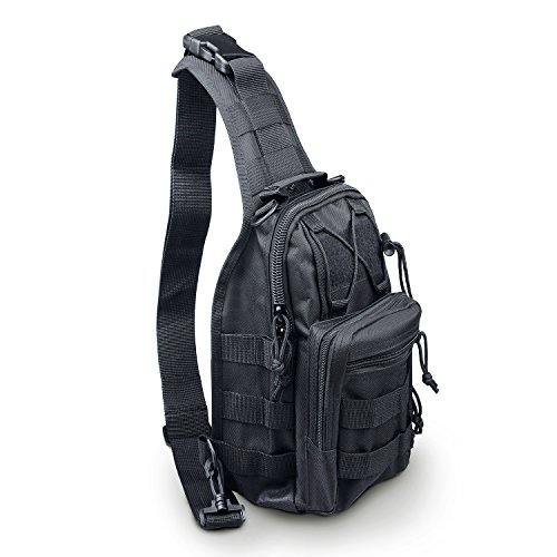 LC Prime Tactical Backpack Shoulder Diagonal Bag Chest Pack Sling Bag Crossbody Rucksack Canvas Outdoor Sports Sack for Riding Camping Hiking Traveling nylon black, by