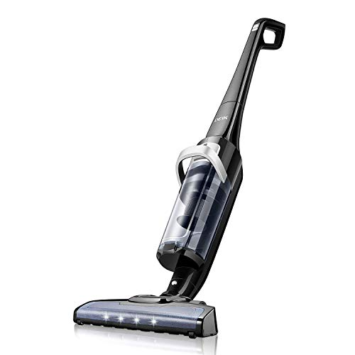 Deik Cordless Vacuum, Lightweight Stick Vacuum Cleaner, 28.8V Rechargeable Lithium-ion Battery with Powerful Suction, Up to 50 mins, Cyclonic HEPA Filtration System and LED Brush