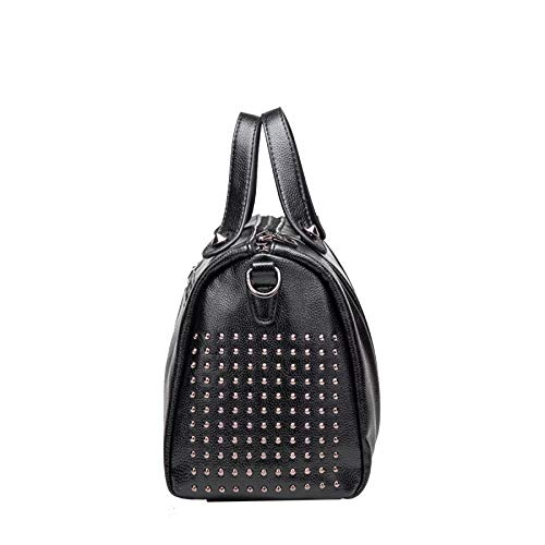 Europeo Bag Borsa Pelle Tracolla Portatile Stile Rivetti Americano In Black E Primavera A Borse Messenger WHfqXxnp