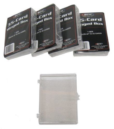 5 BCW Brand 35 Trading Card Capacity Hinged Box/Holder/Case - BCW-HB35- Protect Your Valuable Sports and Gaming Cards!