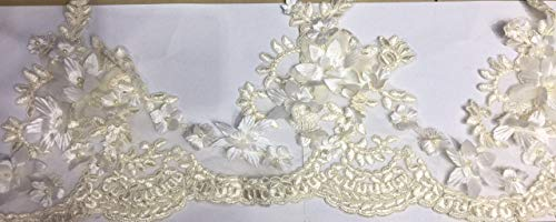 Beaded Lace Trim Sequinned Beaded Ribbon Vintage Decorative Bridal Dress DIY Craft Sewing Fabric Trim T2 (2 Yards Champagne)