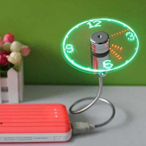 Minzhi Mini Portable Flexible Gooseneck LED Clock USB Fan For PC Notebook Time Display Cool by Minzhi