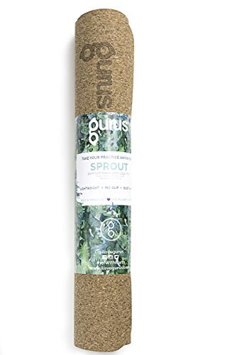 Gurus Sprout Natural Non-Slip Cork Travel Yoga Mat, Lightweight Latex-Free And Made With Thin Eco Friendly TPE, Antimicrobial Material, Flexible Perfect For On The Go Professionals and Beginners
