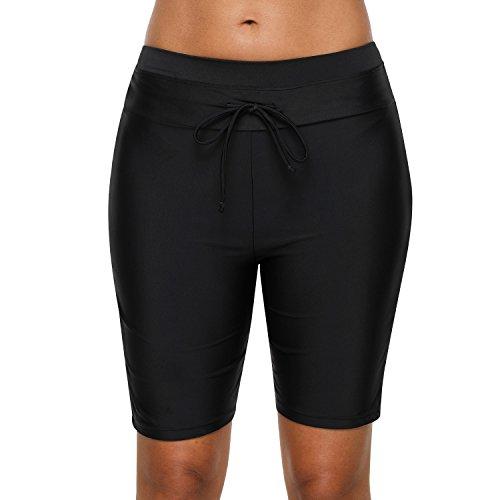 99308a751a Vegatos Womens Long Swim Board Shorts Beach Bathing Suits Bottoms with  Drawstring Black