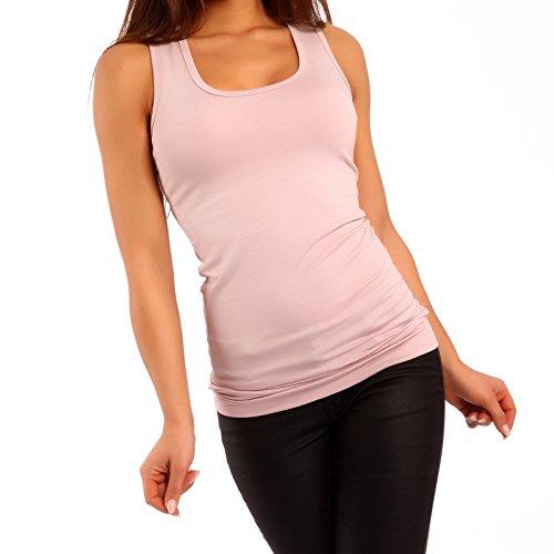 Damen Top Longtop Ringertop , Farbe:Rosa;Größe:One Size