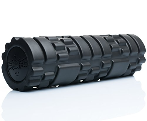SUVIUS Electric Vibrating Foam Roller - 4 Intensity Levels for Firm Battery-Powered Deep Tissue Recovery, Training, Massage - Therapeutic Back and Muscle Massage Roller (Black, Large) ()