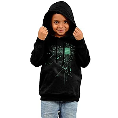 ZheuO Boys & Girls Infant Computer CPU Coer Heta Geek Vintage Hoodie Sweatshirt Black