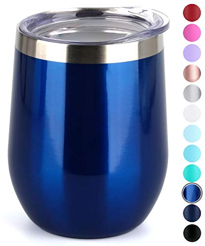 SUNWILL Insulated Wine Tumbler with Lid (Glass Blue), Stemless Stainless Steel Insulated Wine Glass 12oz, Double Wall Durable Coffee Mug, for Champaign, Cocktail, Beer, Office use