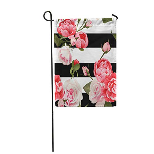 Semtomn Garden Flag Colorful Peony and Roses Black White Stripes Flowered Pink 28