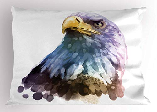 HFYZT Bird Pillow Sham, Watercolor Bald Eagle Patriotic American Hand Drawn Animal with Brush Marks Effect, Decorative Standard King Size Printed Pillowcase, 18 X 18 Inches, Multicolor