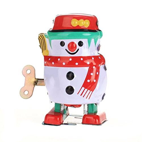 Off the Wall Toys Vintage Retro Style Wind up Snowman Tin Toy Collectible Gift w/ Key