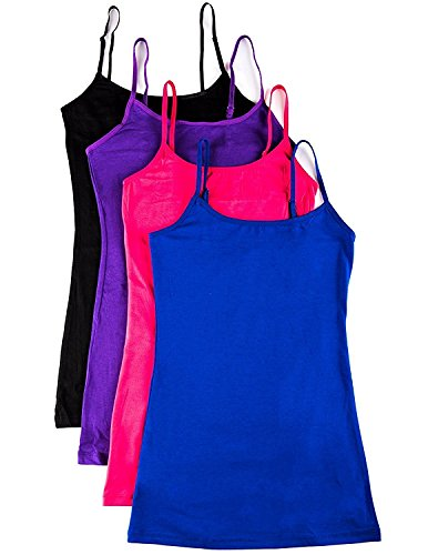 4 Pack Active Basic Women's Basic Tank Top (Medium,Royal/Purple/Pink/Black)