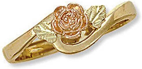 Landstroms Ladies 10k Black Hills Gold Rose Gold Ring with Leaves - D2104