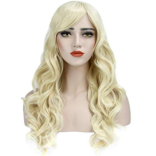 Acecharming Long Blonde Curly Wig,Womens Cosplay Wig Fashion Natural Full Party Wig with Free Wig Cap ()