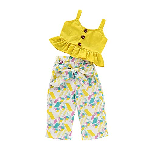 Toddler Kids Girls Ruffle Strap Tank Tops+Geometric Wide Leg Pants Outfit Summer Clothes Two Piece Set (Yellow, 4-5T)
