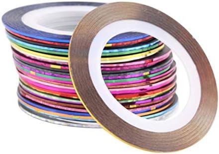 Tivollyff 30ピース30色ロールストライピングテープラインネイルアートデコレーションステッカーヒントDIYネイルツールガールズレディース