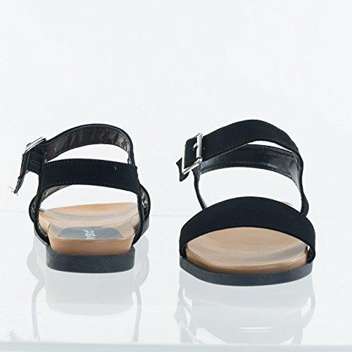 Platte Sandalen Van Bamboevezel Op Flexibel Rubberen Voetbed Met Contouren Buitenzool Zwarte Nubuck