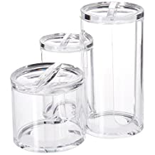 Evelots Clear Acyrlic Triple Round Cotton Ball/Makeup Organizing Container