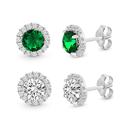MIA SARINE 3 Cttw Simulated Emerald and Cubic Zirconia Halo Stud Earrings for Women 2 pc Set in Rhodium Plated Brass (Green Round)