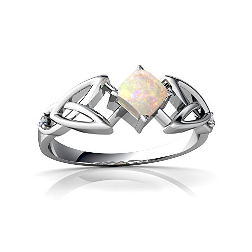 14kt White Gold Opal and Diamond 4mm Square Celtic Trinity Knot Ring - Size 7 14kt Diamond Trinity Knot Ring
