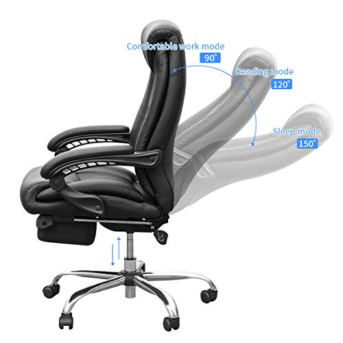 Duramont Reclining Office Chair with Lumbar Support - High Back Executive Chair - Thick Seat Cushion - Ergonomic Adjustable Seat Height and Back Recline - Desk and Task Chair by Duramont (Image #2)