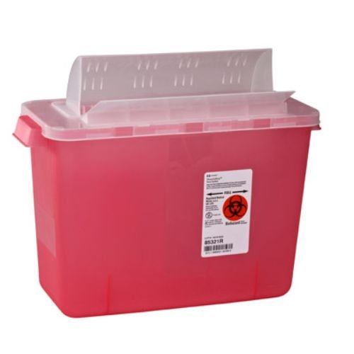 Covidien 85321R SharpSafety In Room Sharps Container with Open Lid, 2 gal Capacity, Transparent Red (Pack of 10)
