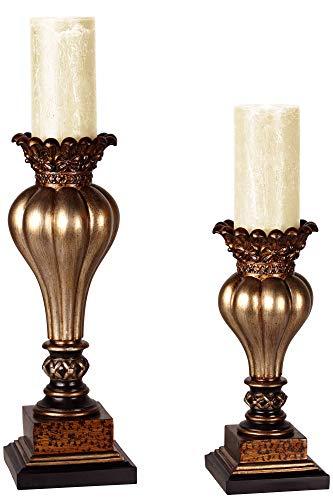Kensington Hill Old World Gold Bronze Pillar Candle Holder Set of - World Old Mantels Fireplace